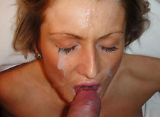 big cumshot all over her slutty face