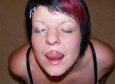 chubby milf kneels down for a facial