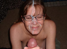 huge cumshot all over her specs
